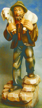 Bild Holzfigur Hirte mit Schaf Nr. 936 handgeschnitzt