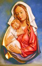 Bild Maria und Kind Relief Nr. 36 handgeschnitzt aus Holz
