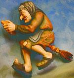 Bild Holzfigur Hexe auf Besen Nr. 372 handgeschnitzt