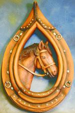 Bild Holzfigur Pferdekopf in Kummet Nr. 418 handgeschnitzt