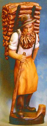 Bild Holzfigur Kraxenträger handgeschnitzt