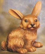 Bild Holzfigur Hase sitzend handgeschnitzt