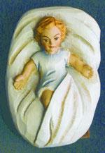 Bild Holzfigur Jesukind in Wiege Nr. 952 handgeschnitzt