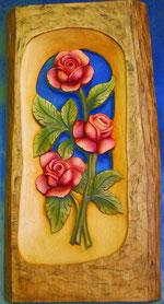Bild Rosenrelief Nr. 433 handgeschnitzt aus Holz