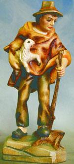 Bild Holzfigur Hirte mit Stab und Lamm Nr. 919 handgeschnitzt