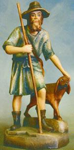 Bild Holzfigur Hirte mit Stab und Hund Nr. 920 handgeschnitzt
