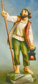 Bild Holzfigur Hirte mit Stab und Laterne Nr. 913 handgeschnitzt