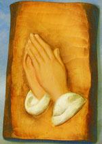 Bild betende Hände Relief Nr. 12 handgeschnitzt aus Holz