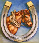 Bild Holzfigur Relief Hufeisen mit Pferd Nr. 325 handgeschnitzt