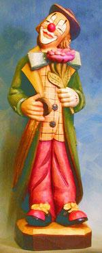 Bild Holzfigur Clown mit Regenschirm und Blume Nr. 172 handgeschnitzt