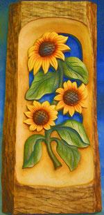 Bild Sonnenblumenrelief Nr. 434 handgeschnitzt aus Holz