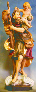 Bild Holzfigur Hl. Christopherus handgeschnitzt