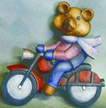 Bild Holzfigur Bär als Motorradfahrer Nr. 504 handgeschnitzt