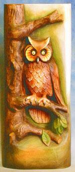 Bild Holzfigur Relief Eule Nr. 419 handgeschnitzt