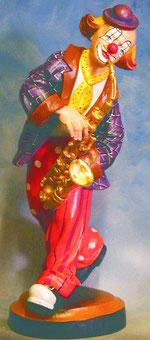Bild Holzfigur Clown mit Saxophon Nr. 240 handgeschnitzt
