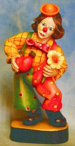 "Bild Holzfigur Clown ""verliebt"" Nr. 286 handgeschnitzt"