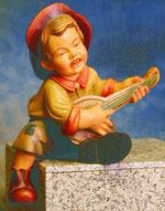 Bild Holzfigur Kantenhocker Junge mit Laute Nr. 336 handgeschnitzt