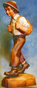 Bild Holzfigur Wanderer mit Rucksack Nr. 11 handgeschnitzt