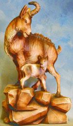 Bild Holzfigur Gams mit Kitz handgeschnitzt