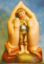 Bild Holzfigur Schützende Hand Nr. 180 handgeschnitzt