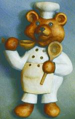 Bild Holzfigur Bär als Koch Nr. 515 handgeschnitzt