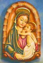 Bild Maria und Kind Relief Nr. 297 handgeschnitzt aus Holz