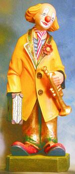 Bild Holzfigur Clown mit Trompete und Koffer Nr. 141 handgeschnitzt
