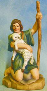 Bild Holzfigur Hirtenjunge mit Lamm Nr. 928 handgeschnitzt