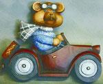 Bild Holzfigur Bär als Autofahrer Nr. 505 handgeschnitzt