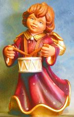 Bild Holzfigur Engel mit Trommel Nr. 351 handgeschnitzt