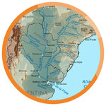 Karte vom Mündungstrichter Rio de la Plata und Strom Rio Uruguay