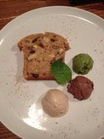 さつま芋のパウンドケーキと豆乳アイスクリーム