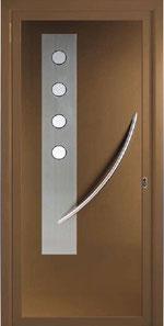 Panel decorativo con vidrios esmerilados para puerta de entrada de aluminio