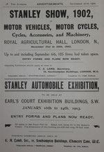 The 26th Stanley Cycle Club Show held at the Agricultural Hall in November 1902.
