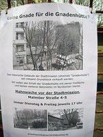 Anwohner wollen informiert sein und laden zum Gespräch am 1. April ab 17 Uhr vor der Gnadenhütte
