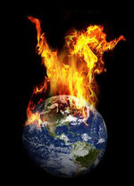 Creation of the Earth depicted by the globe engulfed in fire symbolizing the work of the Holy Spirit.