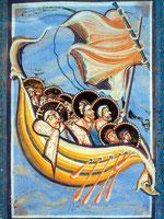 Jesus schlief hinten im Boot