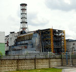 The exploded reactor 4 in Chernobyl