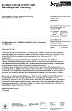 Senatsverwaltung für Wirtschaft: Schreiben vom 16.3.2012