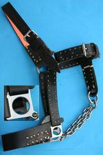 Nr. 59 Lederhalfter mit Edelstahlkette für Kaltblutpferd von Alois Achatz Pferdeartikel / Horse Products