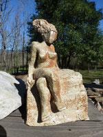 """"""" Petite femme assise """" - Caco 2016 - sculpture grès cuisson four à bois profondeur 13cm x largeur 10cm x Hauteur 20cm"""