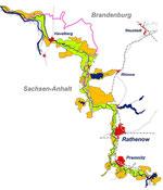 """Das Projektgebiet """"Untere Havel"""" umfaßt rund 19.000 Hektar Flusslandschaft. Grafik: NABU (zum Vergrößern anklicken)."""