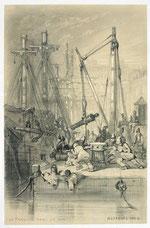 Jules Noël, Le travail dans le port (série « Les Bagnes »), 1844, dessin au crayon sur papier à gommer, musée des beaux-arts de Brest.