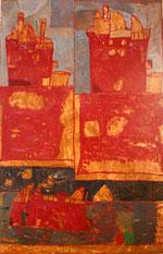François Dilasser, Bateau-feu, acrylique sur papier marouflé sur toile, 1992, Musée des beaux-arts de Brest. © ADAGP, Paris, 2012.