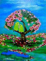 しあわせの鳥 絵画 楽園のアート 立花雪 YukiTachibana