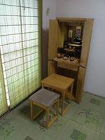 モダン仏壇直置16×46号タモ経机・椅子付き