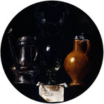Emblematic still life with flagon, glass, jug and bridle, 1614