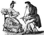 Un'immagine del 1830 circa che illustra l'uso della camera lucida.
