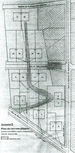 Plan du terrain, disposition des pavillons jumelés et du lotissement voisin privé
