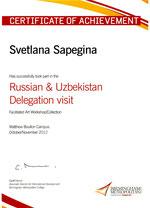 Svetlana Sapegina, Sertificate of Achievement
